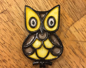 Vintage Stained Glass Enameled Owl Pin