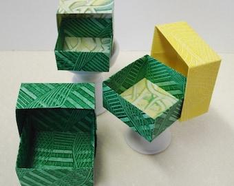 Origami Masu Paste Paper Nesting Boxes-Green, Yellow, & Green w/Yellow