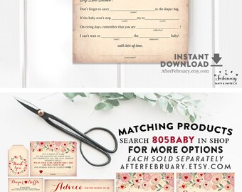 Baby Shower Mad Libs Printable Sweetheart Heart Baby Shower Games Valentine Baby Shower Games Printable (INSTANT DOWNLOAD) No.805BABY