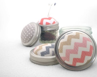 Pin Sharpening Pincushion, Quilting Gift, Pin Cushion, Pincushion, Chevron, Mason Jar Cushion, Emery Pincushion, Gifts for Sewers