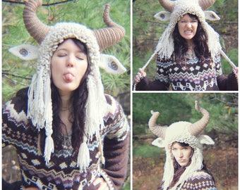 Crochet PATTERN: Krampus Hat / Ram Hat / Goat Hat / Wild Thing Hat / Yeti Hat / Fuzzy Crazy Earflap Hat with Horns Costume Crochet Pattern