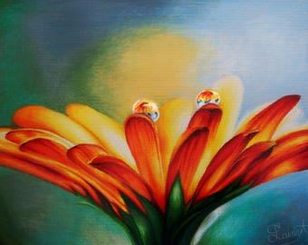 Daisy Drawing - Original Art Colored Pencil - Pencil Sketch - LainyArt artwork with dew drops, rain, summer, spring, flowers