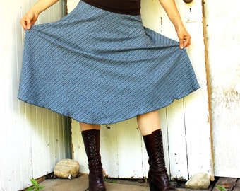 Hemp Half Moon Below Knee Skirt - Hemp and Organic Cotton - Made to Order - Many Colors Available