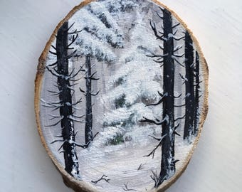 Original Art: Hand painted wood slice with winter landscape. Nordic, Scandinavian, snow, woodland, woods, forest, trees, pine, landscape.