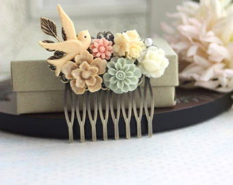 Ivory Bird, Rose, Grey Green Mum, Brown Sakura, Leaf, Vintage Style Collage Hair Comb. Maid Of Honor, Bridesmaids. Country Nature Wedding