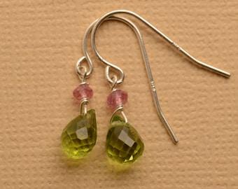Peridot Earrings, Pink Green Gemstone Earrings, Healing Gemstone, August Birthstone Earrings, Green Gemstone Earrings