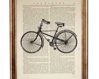 Bicycle Wall Art, Bicycle Art, Bicycle Gifts, Retro Bicycle Dictionary Art Print, Gift For Cyclist, Bike Wall Decor