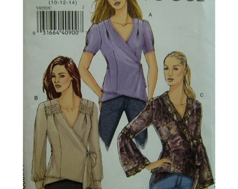 Wrap Blouse Pattern, V-neck, Side Tie, Short/Long/ Flared Sleeves, Cuffs, Hip-Length, Vogue No. 8292 UNCUT Size 10 12 14