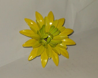 "Vintage 3"" Large Yellow And Green Enamel Multi Layer Petal Brooch/Pin"