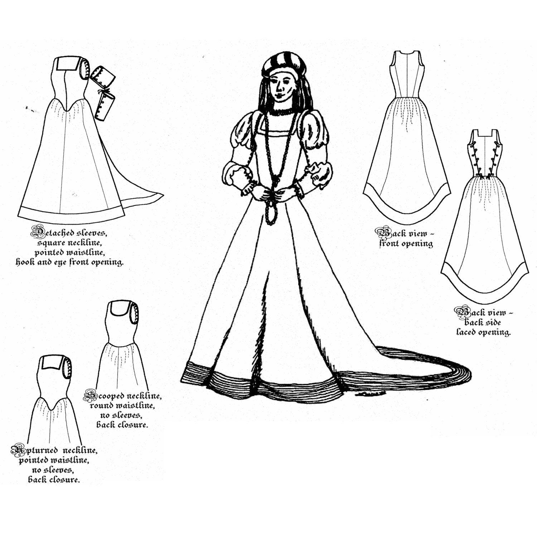 MM15005 1500-1630 französische Kleid Schnittmuster von