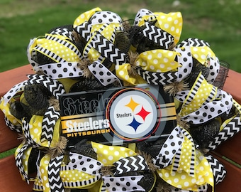 Steelers Black and Gold Wreath, Pittsburgh Wreath, Steelers Wreath, Fall Wreath, Winter Wreath