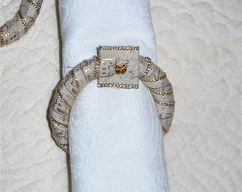 napkin rings set of 6 Gold satin ribbon and wood ring