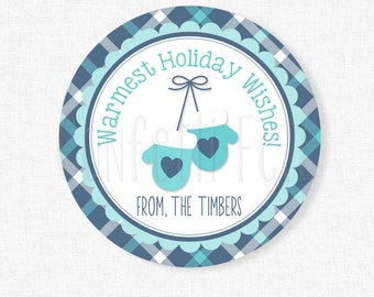 Warmest Wishes Christmas Tag, Mittens Gift Tags, Blue Mittens Holiday Tags, Holiday Treat Tag, Personalized