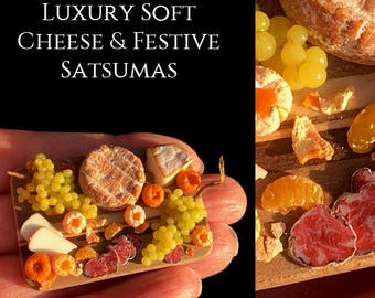 Luxury Soft Cheese Platter & Festive Satsumas - Artisan fully Handmade Miniature in 12th scale. From After Dark miniatures.