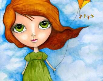 Kite Flying Girl - Mixed Media Girl - Fine Art Print