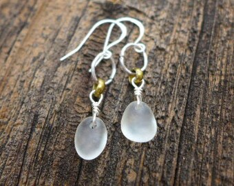 Mermaid Tear sea glass earrings