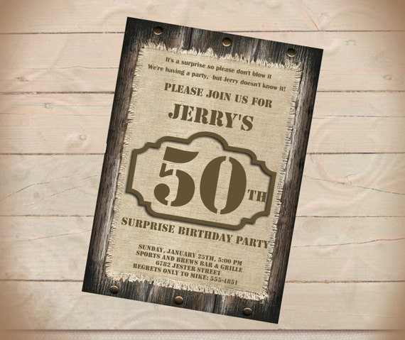 Rustic Birthday Surprise Party Invitation Wood And Burlap