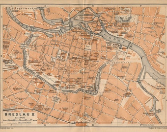 1910 Wroclaw Poland (formerly Breslau Germany) Antique Map