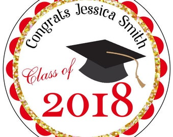 graduation stickers, custom gold graduation stickers, red and gold graduation stickers, class of 2018 stickers, personalized grad stickers