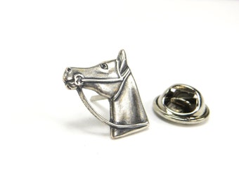 Horse Pin- Horse Tie Tack- Sterling Silver Ox Finish- Horse Lapel Pin or Horse Tie Pin