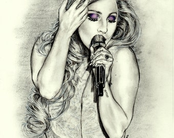 Fine Art Print | Lady Gaga | Oscars 2015 | Charcoal Drawing | Pencil Portrait | Charcoal Portrait | Black and White | Artpop, Wall Art, Gift