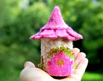 Tooth Fairy House Box Gift Miniature Fairy Garden House Home Felted Wool Fairy House Cottage Garden Fairies and Elves  present for daughter