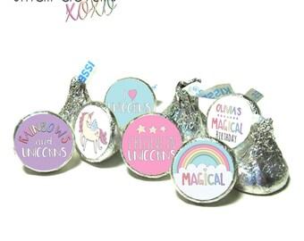 UNICORN Birthday kiss stickers - Unicorns & Rainbow Themed kiss stickers ~ for Hershey's Kisses® Chocolate (108 stickers)
