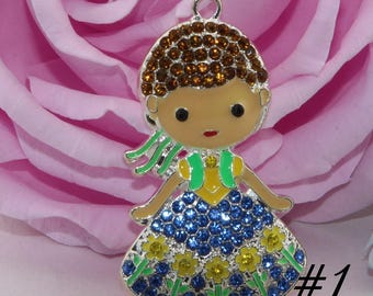 Princess Disney-Rhinestone Pendant for  Chunky Necklaces, 53 mm   Princess Pendant, Chunky Pendant