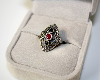 Gothic Vintage Sterling Silver Statement Ring size 5