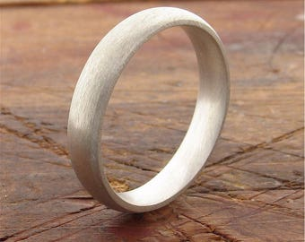 White gold wedding ring, 4mm brushed court handmade band for a woman or a man