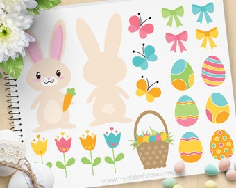 Easter Time Bunny Clipart, bunny butt, cute rabbit, passover, easter eggs basket, egg hunt Commercial Use, Vector clip art, SVG Cut Files