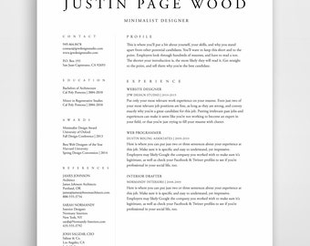 resume template resume professional resume template cv template instand download simple - Minimalist Resume Template