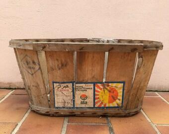 Vintage Wooden Primitive Quart Strawberry Berry Fruit Baskets french Wood