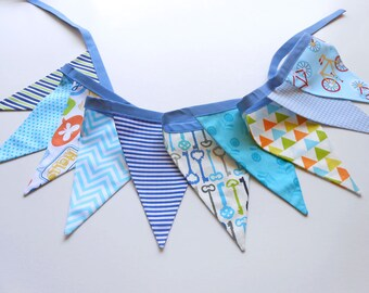 Bunting banner, bunting garland, banner flags, nursery decor, blue bunting banner, pennants garland, triangle garland, party bunting