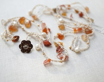 Mothers Day Gift Long Crochet Necklace 5 Wrap Bracelet Natural Gemstone Carnelian Agate Rock Quartz Point White Freshwater Pearl Tiny Beads