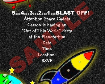 Rocket Ship Outer Space Party Invitations