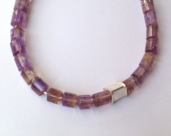 Ametrine beads with silver accent