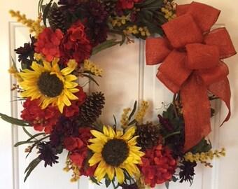 Fall Sunflower, Hydrangea, Mum Wreath