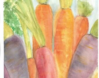 Colorful Carrots- original watercolor print