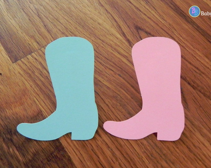 Party Pins: Cowboy or Cowgirl Gender Reveal Baby Shower - Die Cut Pink Girl Cowgirl Boots & Blue Boy Cowboy Boots vote