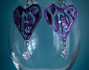 YES Positivity Symbol Earrings - Mirrored Laser-Cut Purple Acrylic with Swarovski Crystal Beads