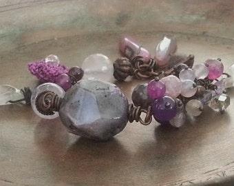 Lilac Dream Bracelet  / Amethyst -Ruby Raw Stones/ Bohemian/ Copper Jewelry