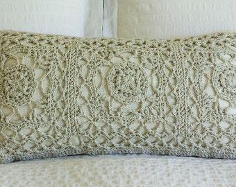 Sequined crochet breakfast cushion