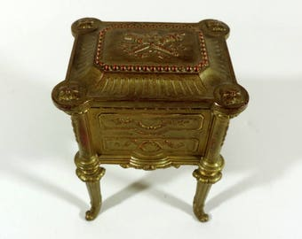 French Antique Casket/French Antique Footed Casket/Antique French Jewelry Box/Trinket Box/Footed Jewelry Box