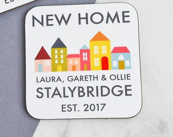 New Home Gift | New Home Coasters | Custom Housewarming Gift | Personalised Coasters | Personalised New Home Gift | Housewarming Coasters