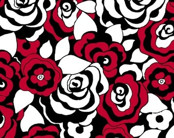 Dotsy by Blank Quilting, 8027 88 Red and white flowers with black accent