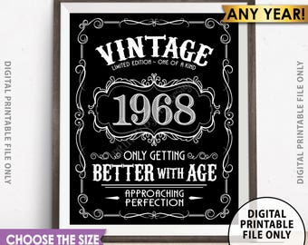 Vintage Birthday Sign, Aged to Perfection, Better with Age Liquor Themed Birthday, Choose Size, Year, Black & White Digital PRINTABLE File