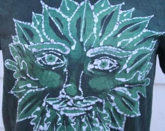 Greenman ORGANIC Batik T-Shirt. Size SMALL. Green and White Hand Drawn Original Art Batik. Hand Dyed. Nature, Pagan.