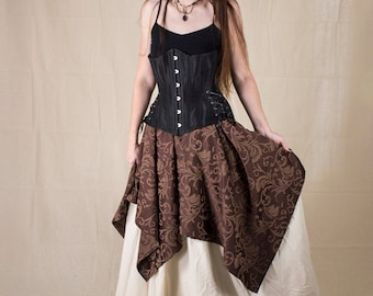 Brown Brocade Pixie Skirt - Womens Renaissance Clothing - Halloween Costume - Ren Faire Garb - Steampunk Pirate Costume - Medieval Clothing