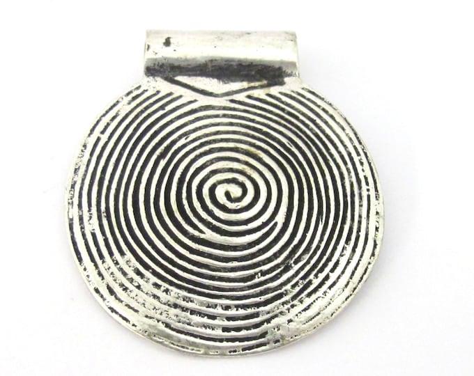 1 Pendant - Tibetan silver spiral symbol tribal shield pendant 46 mm  - CP106